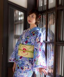 KIMONOMACHI(キモノマチ)の京袋帯+袷着物セット「着物:パープル 花とハリネズミ、リス+帯:クリームイエロー お花」(着物/浴衣)