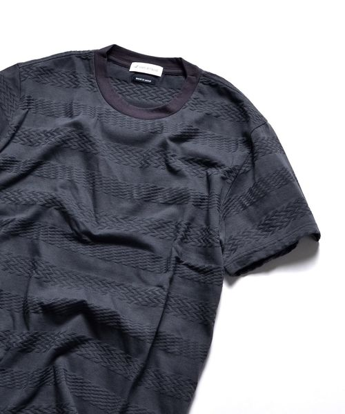 SHIPS JET BLUE: リンクスジャカードボーダー Tシャツ