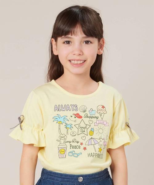 motherways(マザウェイズ)の「ガールズ 5分袖キャンディースリーブTシャツ 全7柄(Tシャツ/カットソー)」|イエロー系その他