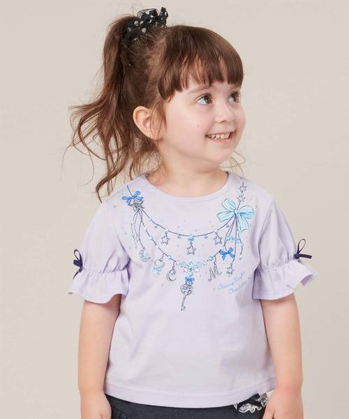 motherways(マザウェイズ)の「ガールズ 5分袖キャンディースリーブTシャツ 全7柄(Tシャツ/カットソー)」|ライラック