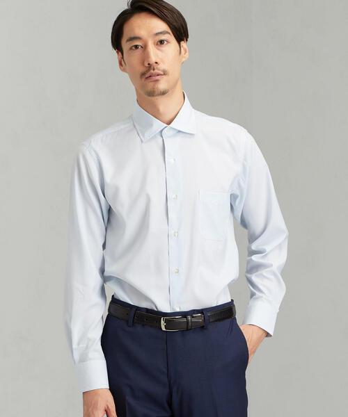 [JUST LENGTH] ACTIVE PLUS スリム ピンストライプ ショートワイド- ドレスシャツ