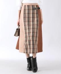 BLUEEAST(ブルーイースト)のスエード×チェック異素材MIXスカート(スカート)