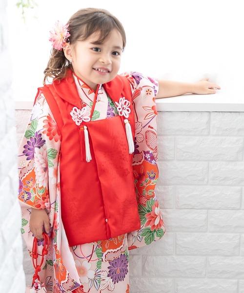 着物セット 七五三用 3歳用 被布セット 華やかB 9点セット (無地被布、柄着物、伊達衿、長襦袢、髪飾り、巾着、草履、腰紐、足袋)