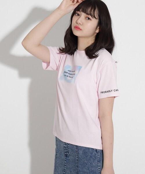 PINK-latte(ピンクラテ)の「【オーガニックコットン100%】タイダイプリントTシャツ(Tシャツ/カットソー)」|ベビーピンク