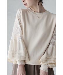 cawaii(カワイイ)の愛らしい白花レースとフリルのポワン袖トップス(アイボリー)(Tシャツ/カットソー)