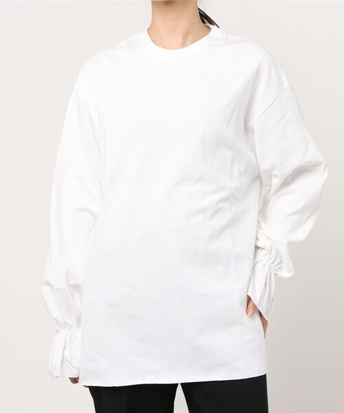 【 Allumer / アリュメール 】Frill Cuff Sleeve T-Shirt 8141333‥