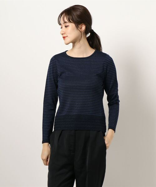 HANAE MORI(ハナエモリ)の「【HANAE MORI】ラメニットプルオーバー(Tシャツ/カットソー)」|ネイビー