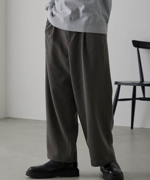 TRタックワイドパンツ テーパードスラックス フレアワイドパンツ