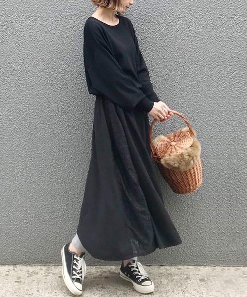 【手洗いできる】ニット&スカートドッキングフレアワンピース
