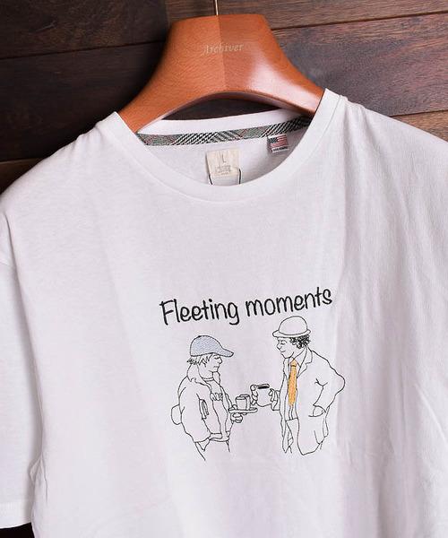【b】線画イラスト刺繍Tシャツ