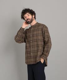 <Steven Alan> 60/2 SHAGGY BAND COLLAR SHIRT-LOOSE/シャツ