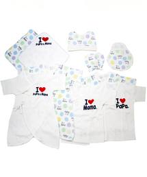 0dbc9bccb2cc1 肌着 パジャマ(ハダギ パジャマ)の「アイラブパパママ 新生児肌着 10枚