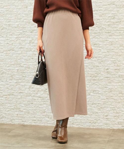 titivate(ティティベイト)の「カットリブラップロングスカート(スカート)」|ベージュ