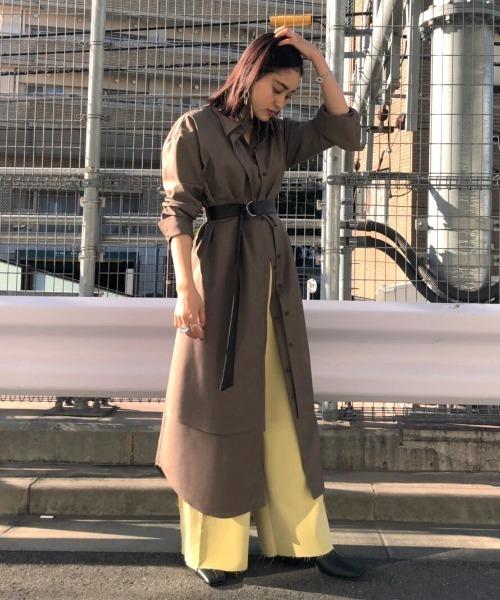 AMERI(アメリ)の「UNDRESSED LAYERED SHIRT DRESS(ワンピース)」|ブラウン