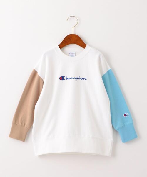 【キッズ】〔別注〕CHAMPION(チャンピオン)ロゴ スウェット/ クレイジーパターン