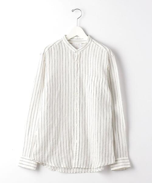 [ コルトレイクリネン ] CSM コルトレイク リネン ストライプ バンドカラー シャツ