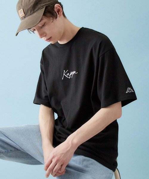 Kappa/カッパ 別注 筆記体ロゴ刺繍&バックプリント 1/2スリーブ オーバーサイズカットソー