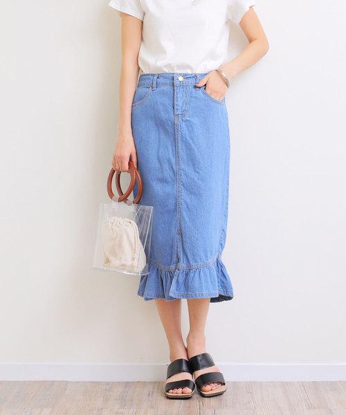 and Me(アンドミー)の「デニム裾フレアタイトスカート(デニムスカート)」|ブルー