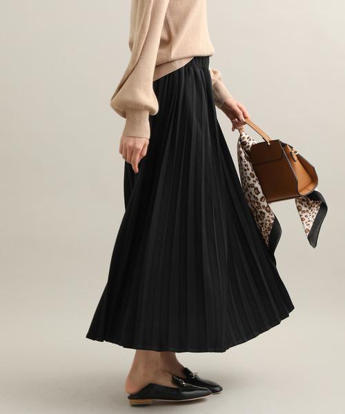 ViS(ビス)の「【WEB限定】ジャガードプリーツスカート(スカート)」|ブラック