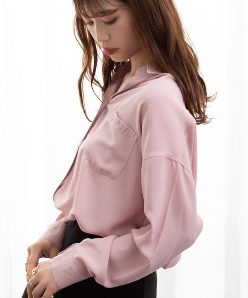 夢展望(ユメテンボウ)の「前後差ジョーゼットスキッパーシャツ(シャツ/ブラウス)」|ピンク系その他3