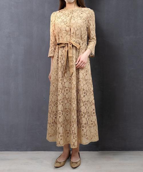 SweetMommy(スウィートマミー)の「総レースアンティークドレス(ドレス)」|ベージュ