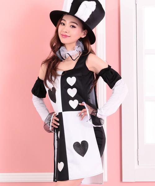 【ハロウィン・コスプレ衣装】トランプ柄コスチューム4点セット
