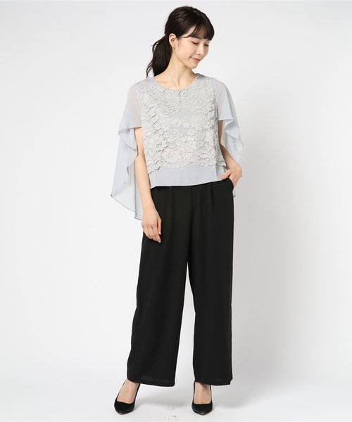 シフォン×花柄レースケープ風パンツドレス·セットアップ
