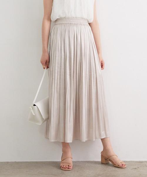 ViS(ビス)の「フェードアウトシャイニースカート(スカート)」|ライトグレー