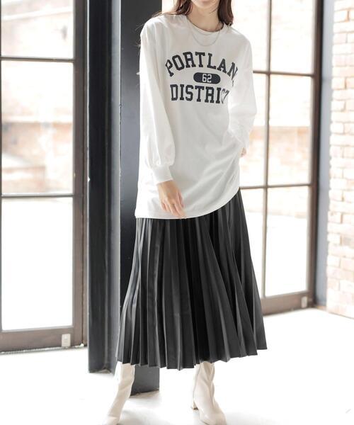 INGNI(イング)の「フェイクレザープリーツスカート(スカート)」|ブラック