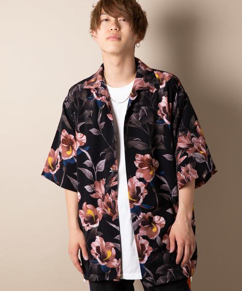 CASPER JOHN AIVER フラワーオープンカラーシャツ