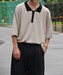 kutir(クティール)の襟配色ニットポロ(ニット/セーター)
