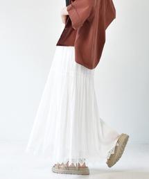 裾レースティアードスカートオフホワイト