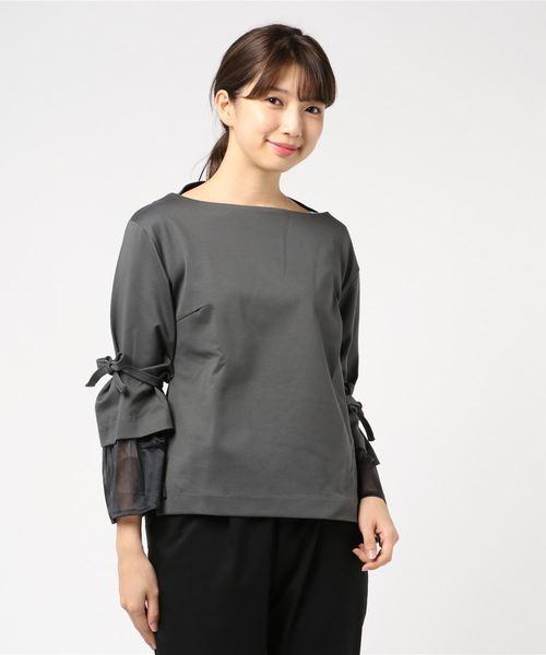 チュール袖カットソー