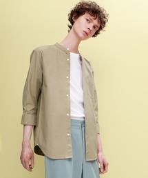 EMMA CLOTHES(エマクローズ)のAuthentic Oxford Shirt オックスフォードストレッチシャツ バンドカラー 半袖/7分袖(シャツ/ブラウス)