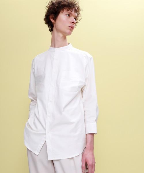 EMMA CLOTHES(エマクローズ)の「Authentic Oxford Shirt オックスフォードストレッチシャツ バンドカラー 半袖/7分袖(シャツ/ブラウス)」|オフホワイト