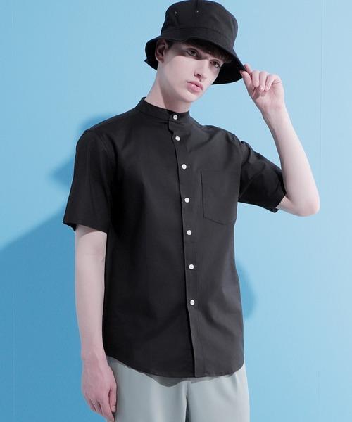 Authentic Oxford Shirt オックスフォードストレッチシャツ バンドカラー 半袖/7分袖