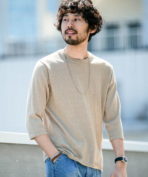【WEB限定】リネン混ニットプルオーバー7分袖