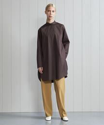 <H>THOMAS MASON COTTON BRORD HIGH NECK TUNIC/シャツ