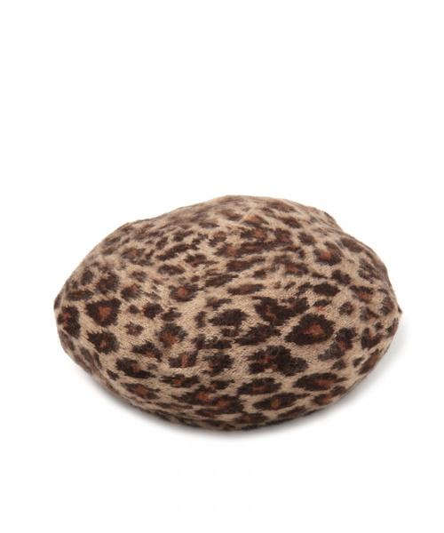 studio CLIP(スタディオクリップ)の「レオパードニットベレー帽(ハンチング/ベレー帽)」|ブラウン