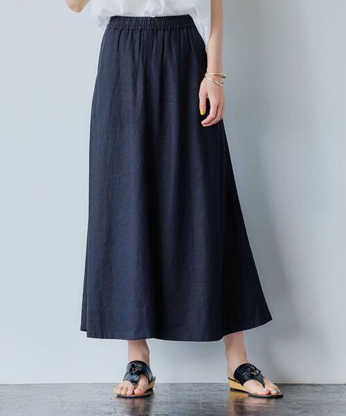 [ ブリーズリネン ] LI/VIS フレア マキシ丈 スカート