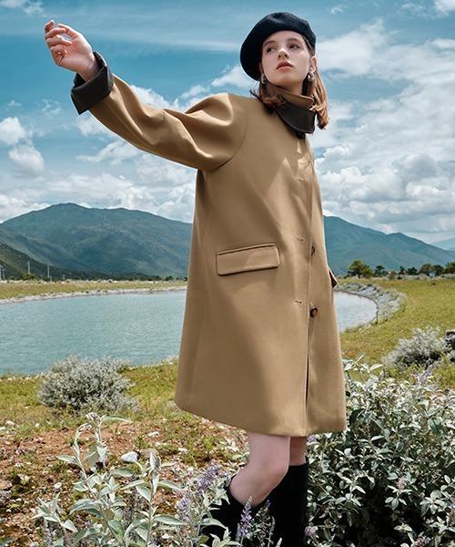 【Fano Studios】【2021AW】PU leather stand collar coat FQ21W084