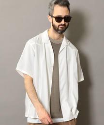 BY ピンタック オープンカラー シャツ ◆