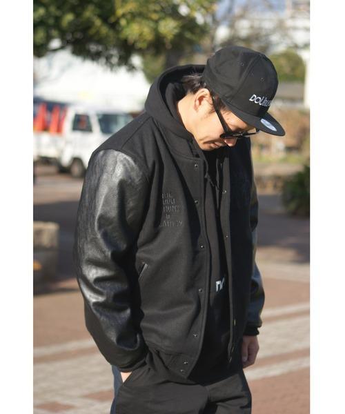 DOUBLE STEAL(ダブルスティール)の「Melton Stadium Jacket(スタジャン)」|ブラック×ブラック