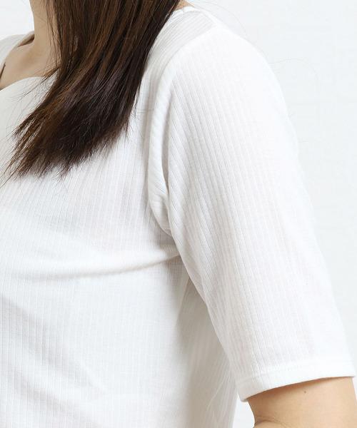 オン ザ デイ レディース:ドロー/on the day:DRAW 無地&ボーダースカラップネックリブプルオーバー半袖Tシャツ(白・アイボリー・ネイビー)