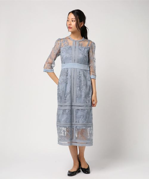 2019最新のスタイル 花柄幾何学模様レース ミモレ丈ワンピースドレス(ドレス) Dorry|Dorry Luxe Doll/ Doll(ドリードール)のファッション通販, MOUNT BLUE SELECTION:a56d7d5a --- bebdimoramungia.it
