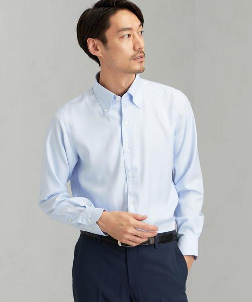 [JUST LENGTH] ACTIVE PLUS ヘリンボーン イタリーボタンダウン- ドレスシャツ