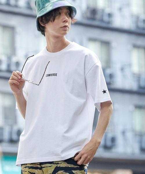 ▽WEB限定 CONVERSE/コンバース 別注ロゴ刺繍 半袖 ビッグシルエットカットソー