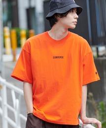 ▽WEB限定 CONVERSE/コンバース 別注ロゴ刺繍 半袖 ビッグシルエットカットソーオレンジ