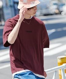 ▽WEB限定 CONVERSE/コンバース 別注ロゴ刺繍 半袖 ビッグシルエットカットソーボルドー