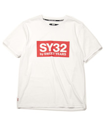 SY32 by SWEET YEARS(エスワイサーティトゥバイスィートイヤーズ)のカラーボックスロゴT(9023)WHITE×RED(Tシャツ/カットソー)